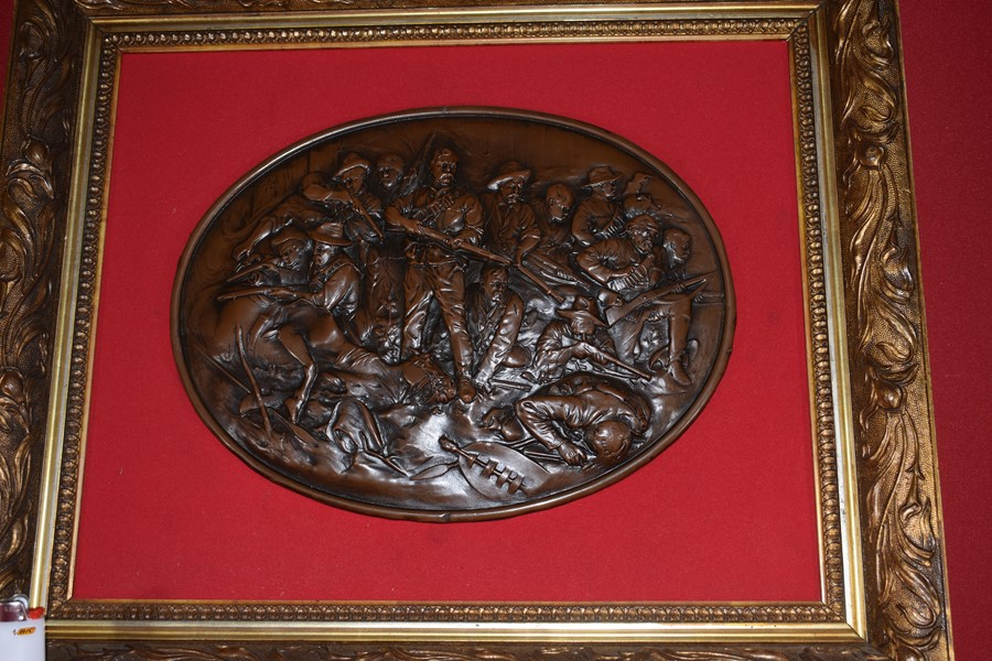 GILT FRAMED BRONZE PLAQUE MATABELE WAR 1893